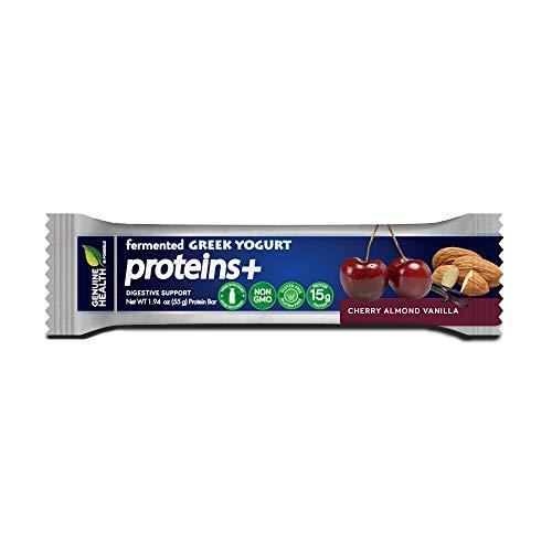 Genuine Heath Fermented Greek Yogurt Proteins+ Bar, Cherry Almond Vanilla, High Protein Bar, Low Carb, Low Sugar, Gluten Free, Digestive Support, 12 Count (Best Yogurt For Digestive Health)