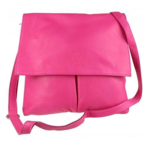 Shoulder Bag Pelle Vera Genuine Double Fuchsia Bag Leather Pocket Handbag Italian Leather Body or Cross pfqRg