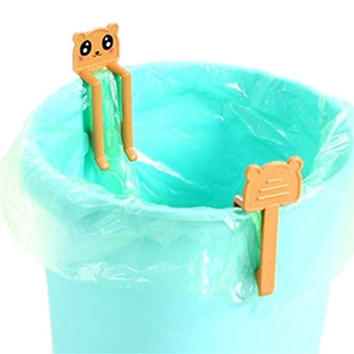 SONG LIN 2 pcs Orange Cute Cartoon Animal Creative Garbage Bag Clip Holder Trash Bin Clips
