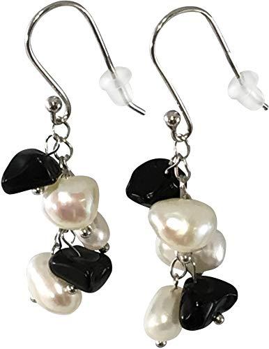 Cultured Pearl Onyx - HinsonGayle Handpicked Freshwater Cultured Pearl & Black Onyx Dangle Earrings Sterling Silver