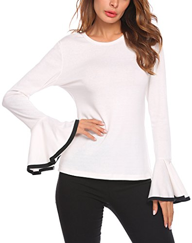 (Women's Long Bell Sleeve Blouse Loose Trumpet T-Shirt Casual Solid Flare Tops (L=US 6, White))
