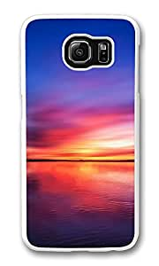 VUTTOO Rugged Samsung Galaxy S6 Case, Fire Sky Lake Sunset Hard Plastic Case for Samsung Galaxy S6 PC Transparent