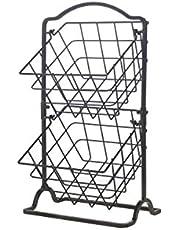 Gourmet Basics by Mikasa General Store 2 Tier Hanging Basket, Antique Black, 5217596