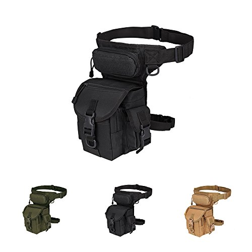 Multi-purpose Tactical Drop Leg Bag Tool Fanny Thigh Pack Leg Rig Military Motorcycle Camera Versipack Utility Pouch, Black