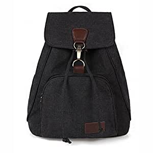 Fashion Canvas Mutifuctional Durable Tote Large Capacity Travel Backpack Purse One Size (Black)