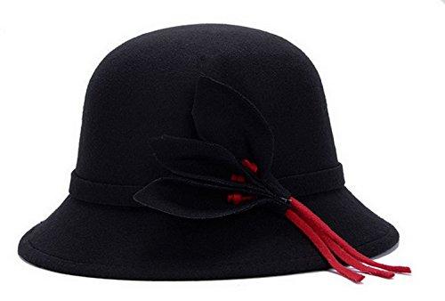 Women Wool Felt Church Cloche Cap Bucket Hat Bowler Hats With Leaves Band