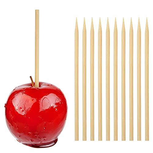 HANSGO Wooden Candy Apple Skewer Sticks, 5mm 7inch Birch Bamboo BBQ Caramel Apple Sticks Cotton Candy Stick Rock Candy Stick Skewer Semi Pointed Lollipop Sticks Barbecue Corn Dog