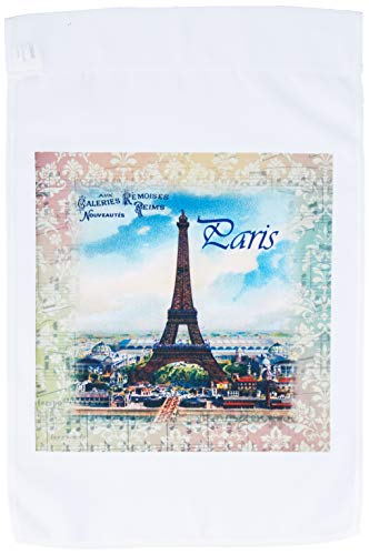 3dRose fl_163388_1 Image of Eiffel Tower on Antique Sheet Music with Word Paris Garden Flag, 12 by 18-Inch ()
