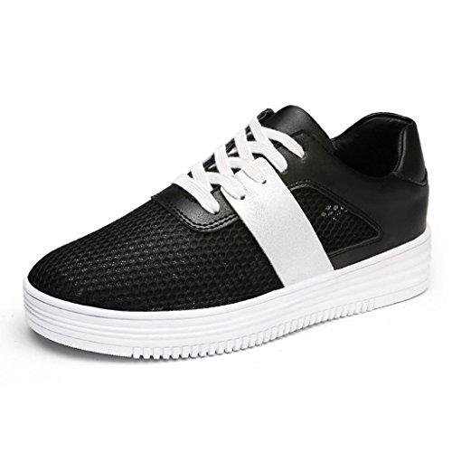 HWF Zapatos para mujer Zapatos ocasionales respirables femeninos de la malla del verano Escoja los zapatos planos de la hembra del estudiante de la placa plana ( Color : Blanco , Tamaño : 39 ) Negro