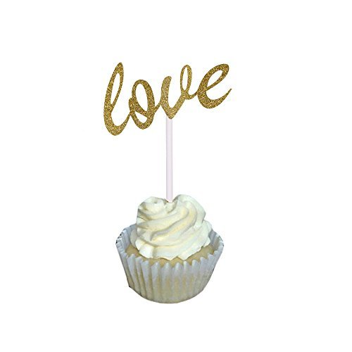 Aisila® Pack of 20 Glitter Paper LOVE Wedding Cupcake Toppers Golden (Love 2) (Wedding Shower Cupcake Toppers compare prices)