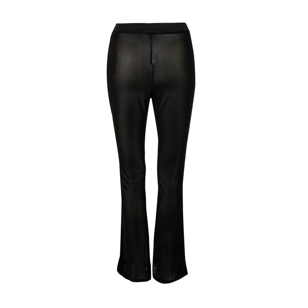 Fashion Casual High Waist Solid Color See Through Mesh Long Trouser 1KTon Wide Leg Pants for Women