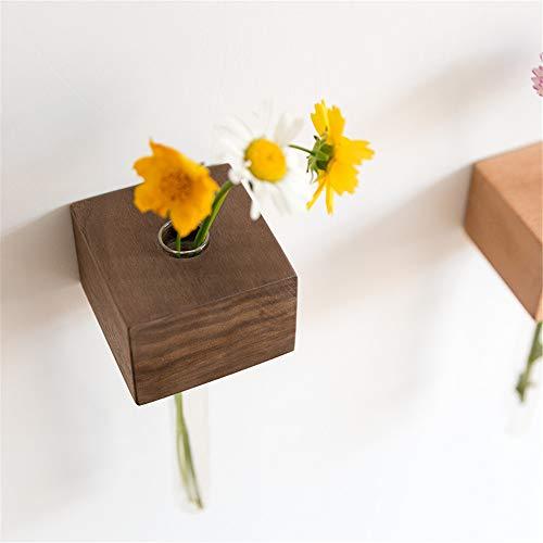Tiandihe Originality Wall-Mounts Solid Wood Bracket Glass Vases - Hydroponic Plant Receptacle - Tabletop Decoration - Test Tube Vase- Wall Decorate Indoor (Walnut)