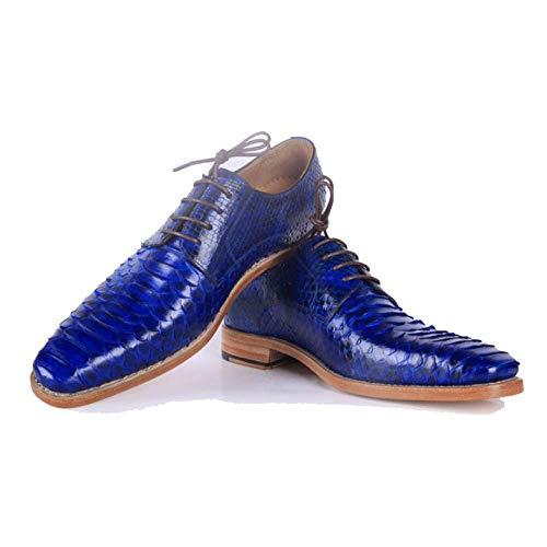 Scarpe Handmade Elegante Confortevole E up Casual Rotonda Business Testa Goodyear Lace Custom Blue Y1qqSB