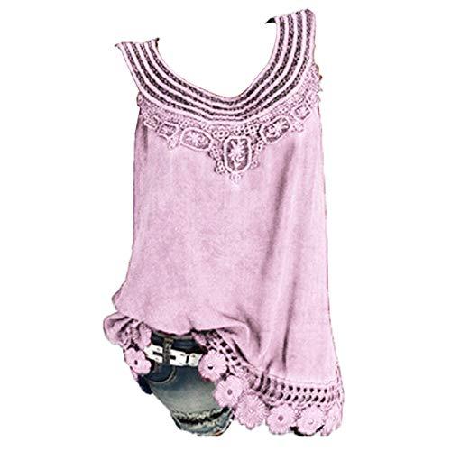 (PrimeMothersDay Women O-Neck Sleeveless Pure Color Lace Plus Size Vest Tops Loose T-Shirt Blouse)