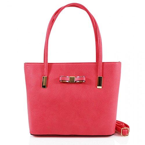 Womens Designer Bow Office Small Tote Bag Ladies Shoulder Handbag Work New UK Red