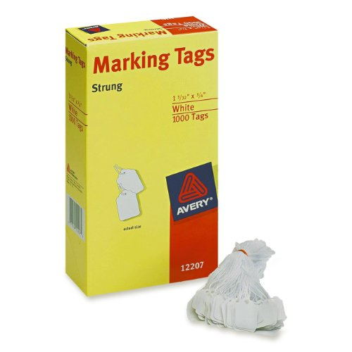 Avery White Marking Tags Strung, 1.093 x 0.75 Inches, Pack of 1000 (12207)