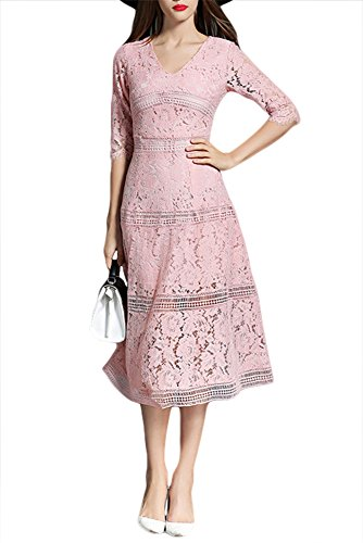 Women's V Neck 1/2 Sleeve High Waist Casual Cocktail Swing Midi Dress Pink