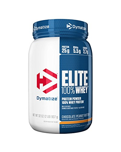 (Dymatize Elite 100% Whey Protein Powder, Take Pre Workout or Post Workout, Quick Absorbing & Fast Digesting, Chocolate Peanut Butter, 2 Pound )