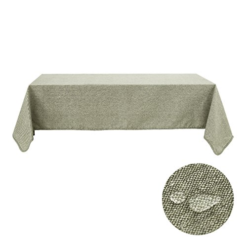 Deconovo Tablecloths For Oval Tables Linen Tablecloth Cotton Soft Waterproof Rectangle Tablecloths 60 x 102 Inch Oil Green