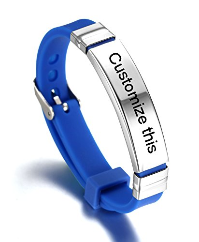 JF.JEWELRY Personalized Custom Silicone Cuff Bracelet for Kids with Stainless Steel Tag,Blue -