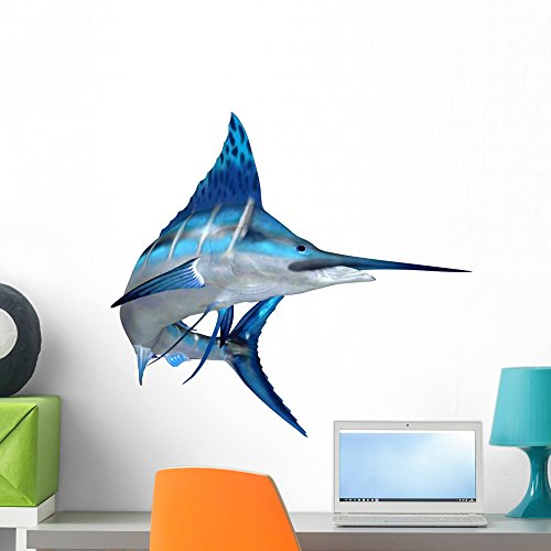 Wallmonkeys Blue Marlin Ocean Fish Wall Decal Peel and Stick Graphic (24 in H x 24 in W) WM74306