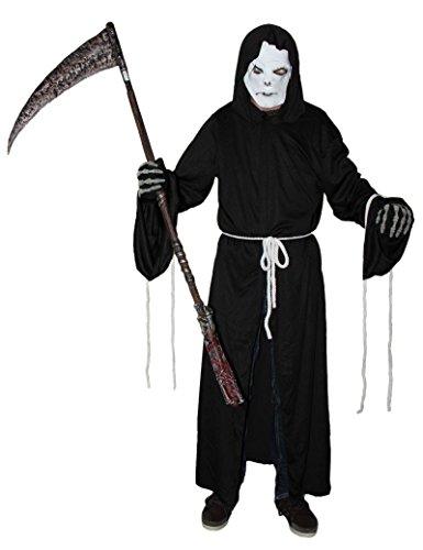 Foxxeo 40028 | Sensenmann Kostüm mit Maske für Herren Sensemann Sensenmannkostüm Halloween Herrenkostüm Halloweenkostüm L - XXXL, Größe:XXL