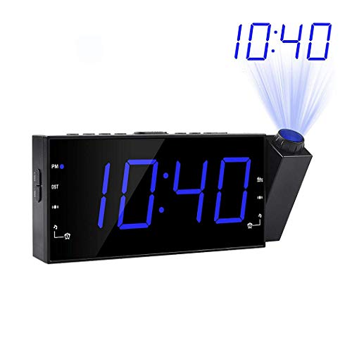 LZYCL Digital Projector Clock, Am fm Radio Alarm Clock Ultra Clear led Alarm Snooze Timer Temperature with dimmer USB Charging for Kids Bedroom Kitchen-Blue (Alarm Clock Ultra)