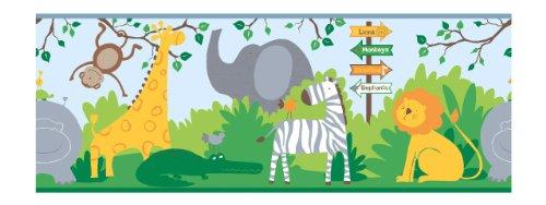 (York Wallcoverings ZB3207BD A Day At The Zoo Border, Powder Blue/Brilliant Green/Dove Gray/Orange )