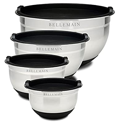 Bellemain Stainless Steel Non-Slip Mixing Bowls with Lids, 4 Piece Set Includes 1 Qt, 1.5 Qt, 3 Qt. & 5 Qt.