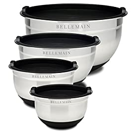 Bellemain Stainless Steel Non-Slip Mixing Bowls with Lids (4-Piece Set) 1 MEASURE, MIX AND STORE IN THE SAME CONTAINER: These are not your ordinary mixing bowls. Bellemain Mixing Bowls come with tight-fitting BPA-free silicone lids so your mixture stays fresh longer. STYLISH UPSCALE MODERN DESIGN: Stainless steel always looks great, but extra touches like measurements etched on the inside of the bowl and no-slip silicone coating are both classy and functional. NON-SLIP COATING MAKES YOUR JOB EASIER: The silicone coating on the bottom of the bowl looks great while keeping your bowl from flying out from under you no matter how vigorously you mix.