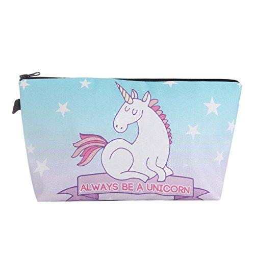 Cartoon Unicorn Hand Bag, 3D Printed Toiletry Makeup Pouch,
