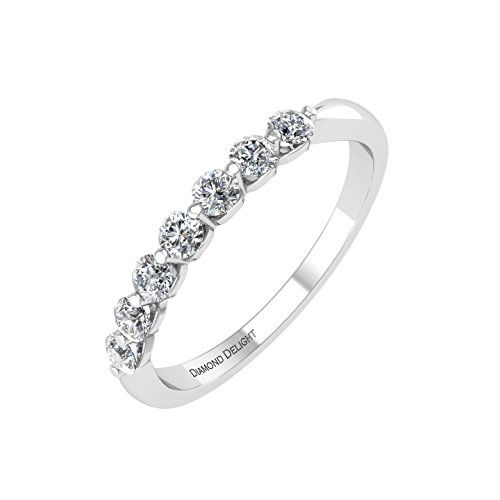 10k White Gold 7 Stone Prong Set Diamond Wedding/anniversary Band Ring (1/4 Carat) -