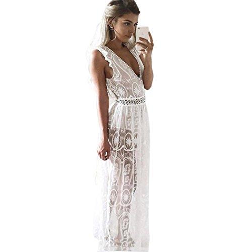 Koly Vestido largo de encaje Deep V cuello sin mangas Illusion cóctel ahueca el vestido de fiesta Blanco