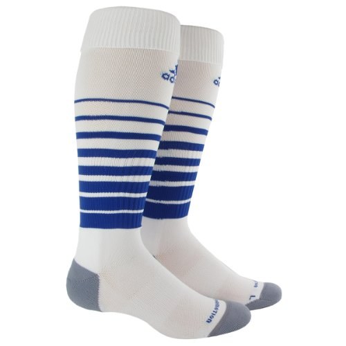 adidas Team Speed Soccer Socks (1-Pack), White/Cobalt, Medium
