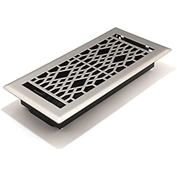 Accord AMFRSNCA410 Cathedral Floor Register, 4-Inch x 10-Inch(Duct Opening Measurements), Satin Nickel