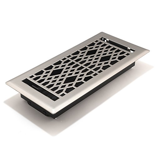 (Accord AMFRSNCA410 Cathedral Floor Register, 4-Inch x 10-Inch(Duct Opening Measurements), Satin Nickel)