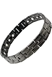 Best Mens Titanium Magnetic Golf Bracelet Graphite Gray with ions Gift Box