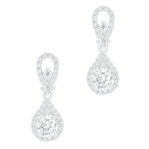 ORROUS & CO Legacy Collection 18K White Gold Plated Solitaire Cubic Zirconia Accent Halo Drop Earrings
