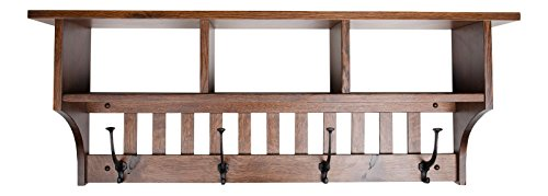 """Rooms Organized Wall Mounted Mission 3- Cubby Coat Rack with Shelf Mission Quartersawn Oak Wood 42"""" w with 4 Wrought Iron Hooks (Ashbury Low Sheen)"""
