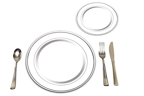 25 Heavyweight Elegant Plastic Disposable Place Settings: 25 Dinner Plates, 25 Salad or Dessert Plates & 25 Polished Silver Plastic Forks Knives & Spoons ()