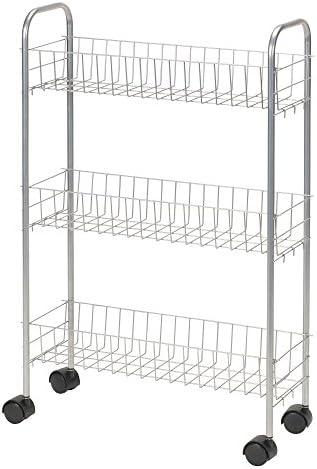 Household Essentials 7011 Slim Line 3-Tier Metal Storage Cart   Satin Silver