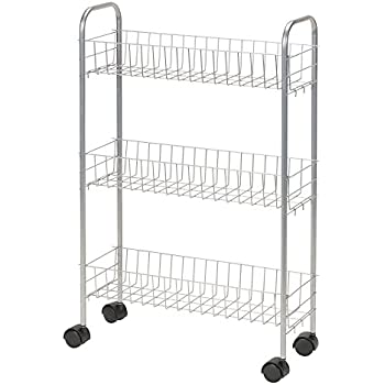 Household Essentials 7011 Slim Line 3 Tier Metal Storage Cart | Satin Silver