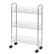 Household Essentials 7011 Slim Line 3-Tier Metal Storage Cart | Satin Silver