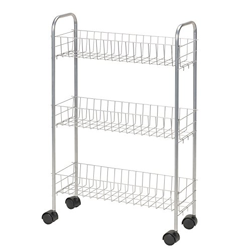 Essential Sink Laundry (Household Essentials 7011 Slim Line 3-Tier Metal Storage Cart | Satin Silver)