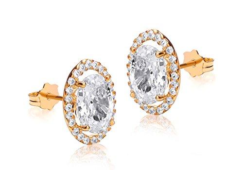 Boucles d'oreilles en or jaune 9carats serti de pierre transparente et ovale