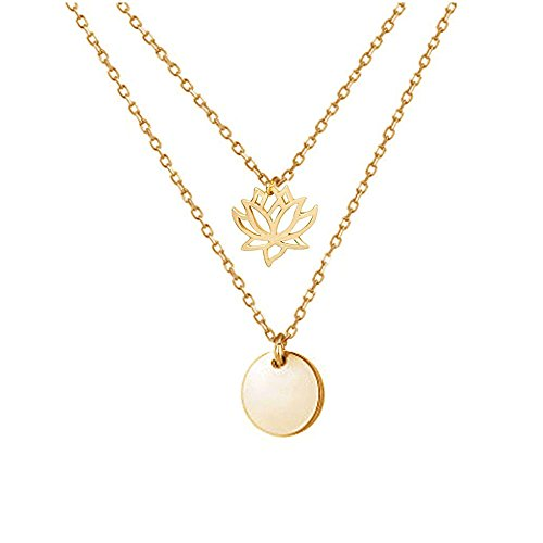 Double Pendant Necklace - CHUYUN Wafer Sequins Double Layers Choker Chain Necklace Coin Pendant with Lotus Flower For Women (gold)