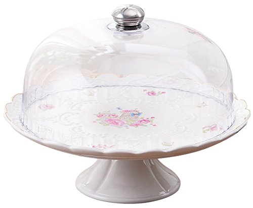 Jusalpha 12-Inches Rose Series Ceramic Decorative Cake Stand-Cupcake Stand With Lid, CS05 (Cake Ceramic With Dome Stand)