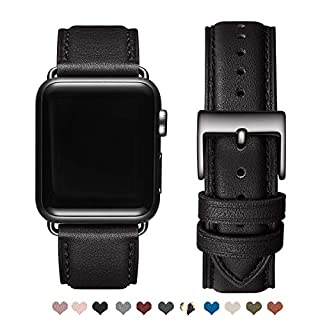OMIU Square Bands Compatible for Apple Watch 42mm 44mm 38mm 40mm, Genuine Leather Replacement Band Compatible with Apple Watch Series 5/4/3/2/1 Edition (Black/Black Connector, 42mm 44mm)
