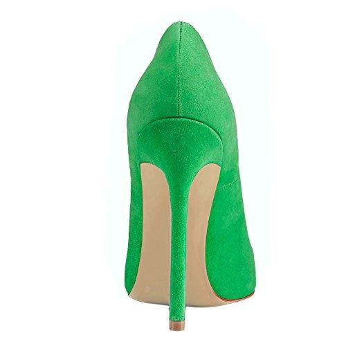 EKS - Zapatos de vestir de charol para mujer Green-Faux Wildleder