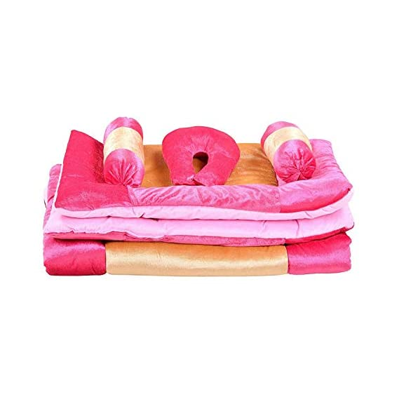 Homescape Baby Velvet 5 Pcs. Bedding Set with Neck Pillow,Mattress, Quilt,Two Boosters (0-18 Months) (Pink)